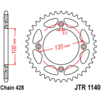 chain wheel 54T pitch 428 für Beta RR Enduro 125 ZD3E4000 2013